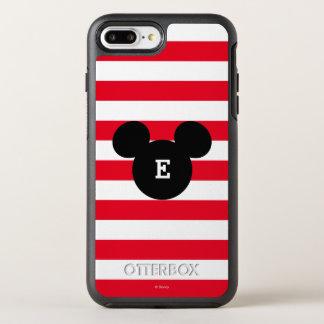 Mickey Head Silhouette Striped Pattern | Monogram OtterBox Symmetry iPhone 7 Plus Case