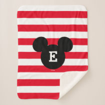 Mickey Head Silhouette Striped Pattern | Monogram Sherpa Blanket