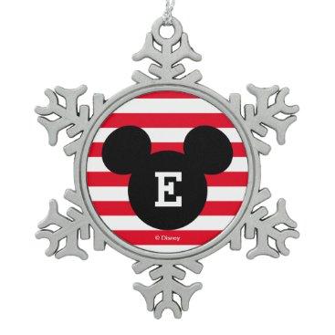 Disney Themed Mickey Head Silhouette Striped Pattern | Monogram Snowflake Pewter Christmas Ornament