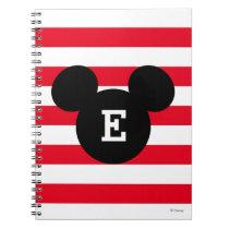 Mickey Head Silhouette Striped Pattern | Monogram Spiral Notebook
