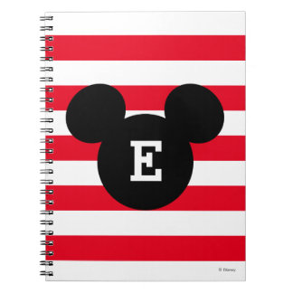 Mickey Head Silhouette Striped Pattern | Monogram Spiral Notebook