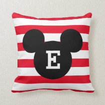 Mickey Head Silhouette Striped Pattern | Monogram Throw Pillow