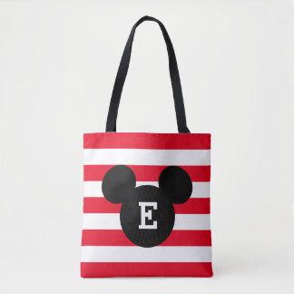 Mickey Head Silhouette Striped Pattern | Monogram Tote Bag