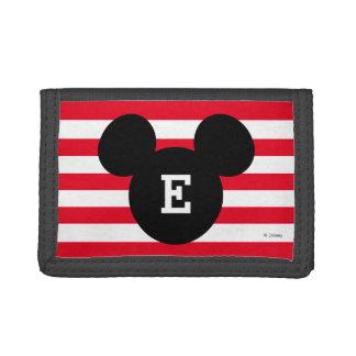 Mickey Head Silhouette Striped Pattern   Monogram Trifold Wallet