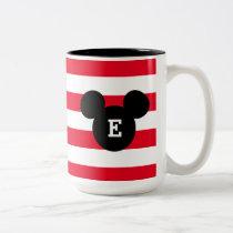 Mickey Head Silhouette Striped Pattern | Monogram Two-Tone Coffee Mug