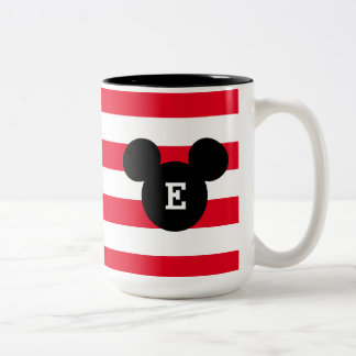 Mickey Head Silhouette Striped Pattern | Monogram Two-Tone Coffee Mug