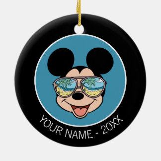 Mickey | Mickey Tropical Sunglasses Add Your Name Ceramic Ornament