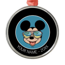 Mickey | Mickey Tropical Sunglasses Add Your Name Metal Ornament