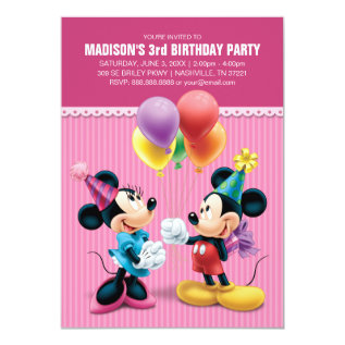 Mickey & Minnie | Birthday Card at Zazzle