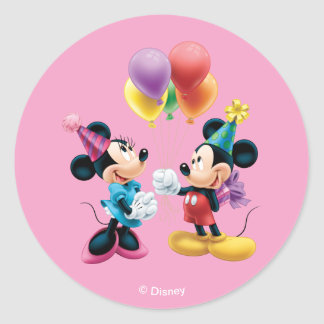 Mickey & Minnie | Birthday Classic Round Sticker