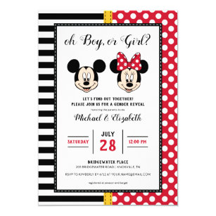Mickey Minnie Boy Or Girl Gender Reveal Invitation
