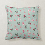 Mickey & Minnie | Christmas Holly Pattern Throw Pillow