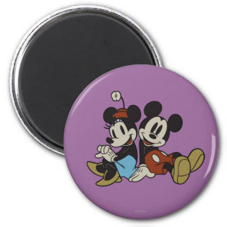 Mickey & Minnie | Classic Pair Sitting 2 Inch Round Magnet
