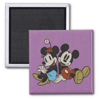 Mickey & Minnie | Classic Pair Sitting 2 Inch Square Magnet