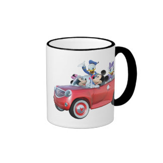 Mickey, Minnie, Donald, & Daisy in car Ringer Coffee Mug