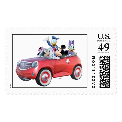 Mickey, Minnie, Donald, & Daisy in car Postage Stamp