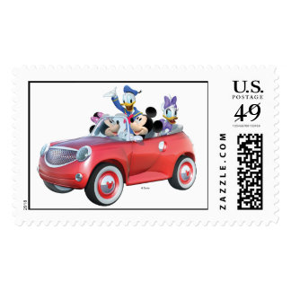 Mickey, Minnie, Donald, y margarita en coche Estampillas