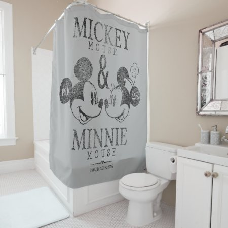 Fully customizable Mickey & Minnie Shower Curtain with a 1928 design created by Disney.