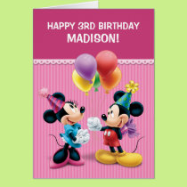 Mickey & Minnie   Folded Birthday Card