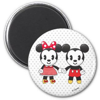 Mickey & Minnie Holding Hands Emoji 2 Inch Round Magnet
