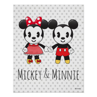 Mickey & Minnie Holding Hands Emoji 3 Poster