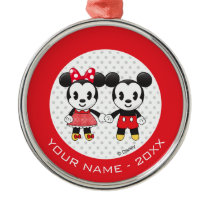 Mickey Minnie Holding Hands Emoji   Add Your Name Metal Ornament