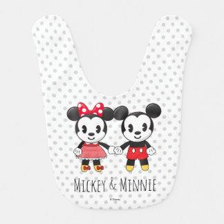 Mickey & Minnie Holding Hands Emoji Baby Bib
