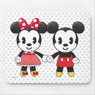 Mickey & Minnie Holding Hands Emoji Mouse Pad