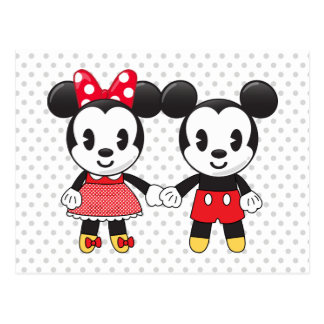 Mickey & Minnie Holding Hands Emoji Postcard