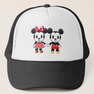 Mickey & Minnie Holding Hands Emoji Trucker Hat