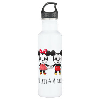 Mickey & Minnie Holding Hands Emoji Water Bottle