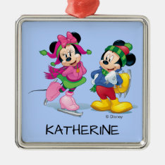 Mickey & Minnie | Ice Skating Add Your Name Metal Ornament at Zazzle