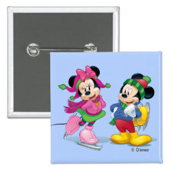 Square Button with Disney Christmas Ornaments design