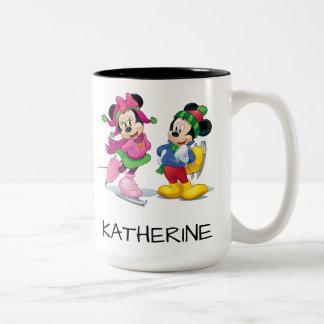 Mickey & Minnie Ice Skating Two-Tone Coffee Mug