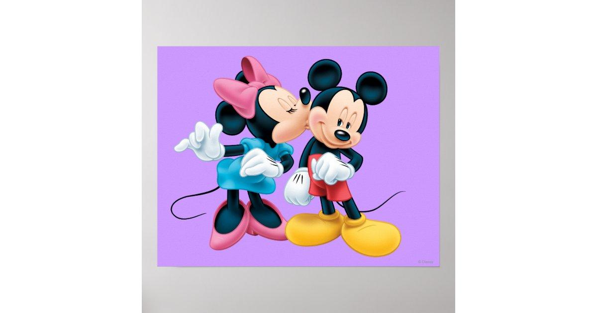 Mickey Amp Minnie Kiss On Cheek Poster Zazzle Com