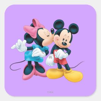 Mickey & Minnie   Kiss on Cheek Square Sticker