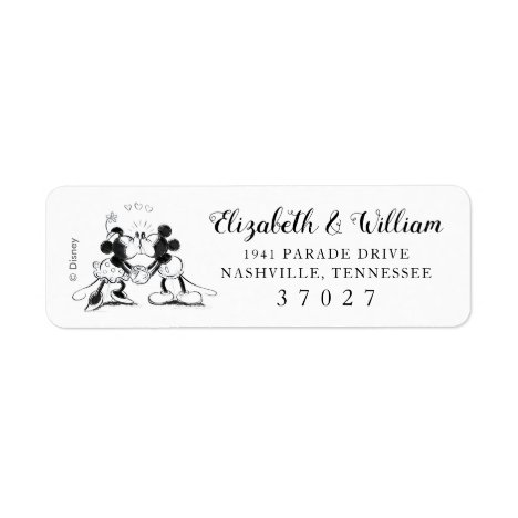 Mickey & Minnie | Pink Confetti Wedding Label