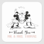 """Mickey &amp; Minnie   Pink Confetti Wedding Square Sticker<br><div class=""""desc"""">Thanks all your family and friends for coming to your Mickey and Minnie themed wedding with these sweet stickers Personalize by adding your name and wedding date.</div>"""