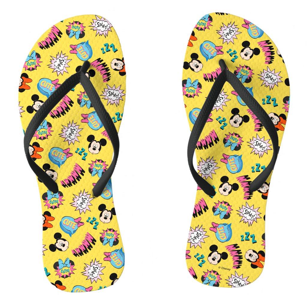 Mickey & Minnie | Super Hero Pop Pattern Flip Flops