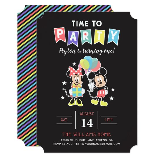 Mickey Minnie Time To Party Invitation Zazzle Com