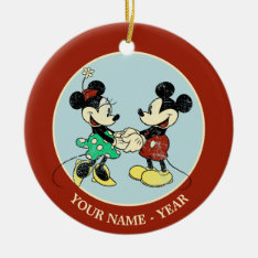 Mickey & Minnie | Vintage Add Your Name Ceramic Ornament at Zazzle