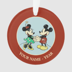 Mickey & Minnie | Vintage Add Your Name Ornament at Zazzle