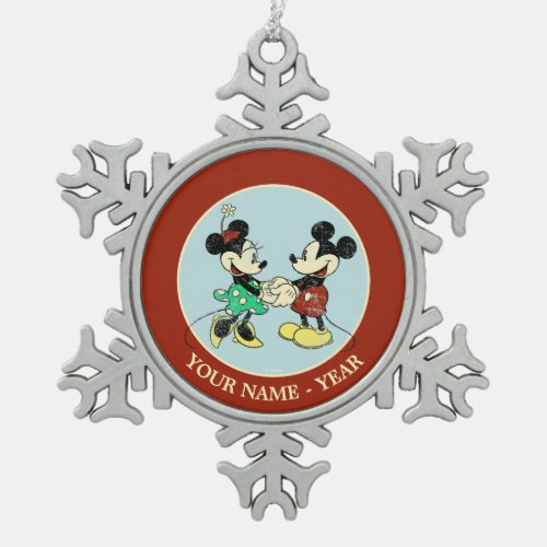 Mickey  Minnie  Vintage Add Your Name Snowflake Pewter Christmas Ornament