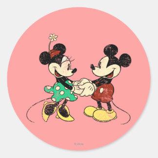 Mickey & Minnie   Vintage Classic Round Sticker