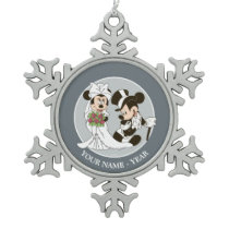 Mickey & Minnie Wedding | Getting Married Snowflake Pewter Christmas Ornament