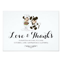 Mickey & Minnie Wedding | Married Thank You Card