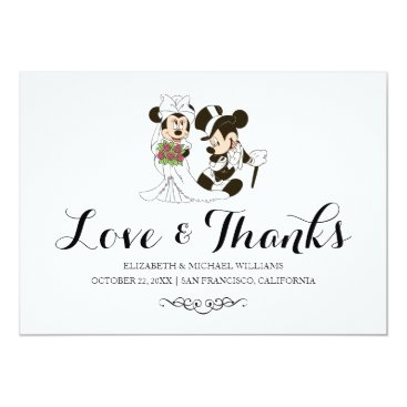 disney Mickey & Minnie Wedding | Married Thank You Card