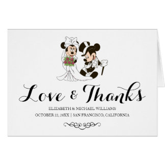 Mickey & Minnie Wedding   Married Thank You Folded Card