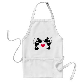 Mickey & Minnie Wedding | Silhouette Adult Apron at Zazzle