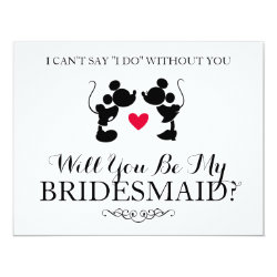 Mickey & Minnie Wedding | Silhouette Bridesmaid Card